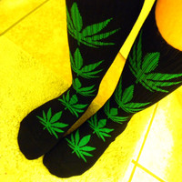Pot Leaf Knee High Women's Sock Black and Green / Stoner Socks / Canibis Weed Marajuana Leagalize