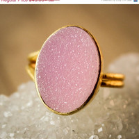 MOTHERS DAY SALE Pink Druzy Ring - Druzy Quartz Ring - Adjustable, Cotton Candy Pink