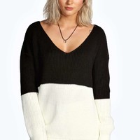 Claire V Neck Colour Block Jumper