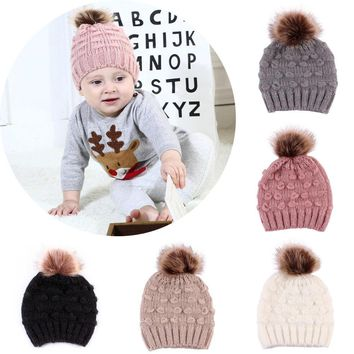 0-3Y Baby Hat Infant Toddler Newborn Boy Girl Kids Cap Winter Warm Fur Pom-pom Bobble Knit Crochet Beanie Cap Bonnet Turban