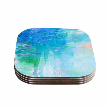 "Ebi Emporium ""Childlike Wonder"" Blue Pastel Coasters (Set of 4)"