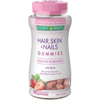 Nature's Bounty Optimal Solutions Hair, Skin & Nails Dietary Supplement Strawberry Flavored Gummies, 90 count - Walmart.com