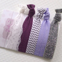 Soft Elastic Hair Ties, Set of 5, No Crease, Ponytail Holders, Fold Over Elastic, FOE, Ribbon Hair Tie, Purple, Lace, Glitter, Chevron
