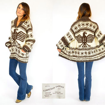 unisex THUNDERBIRD outdoor mountain SALISH boho vancouver island heavy knit COWICHAN sweater coat, one size fits most