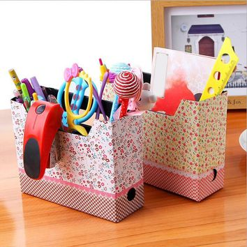 DIY Makeup Cosmetic Stationery Paper Office Desk Board Storage Box Organizer cable storage box file Container
