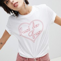 Pieces Heart Slogan T-Shirt at asos.com