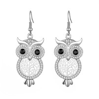 Dangle Earring for Women,Lucky Owl Drop Earring for Girls Rhinestone Earring Hoop Earring with CZ Crystal