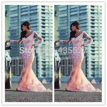 Nitree 2016 Fashion Sexy Mermaid Prom Dresses Vestidos De Fiesta Long Sleeves Gala Dresses Elegant Appliques Arabic Evening Gown