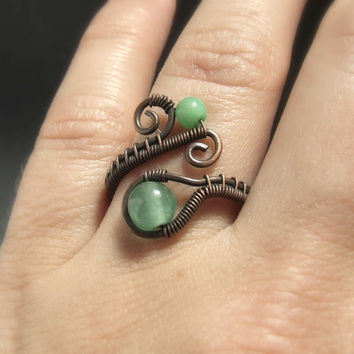 Aventurine ring, copper ring, green gemstone jewelry, rustic ring, stone jewelry