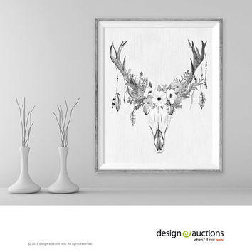 floral deer skull art print instant download printable deer art black and white antler boho wall art home decor rustic art digital art print