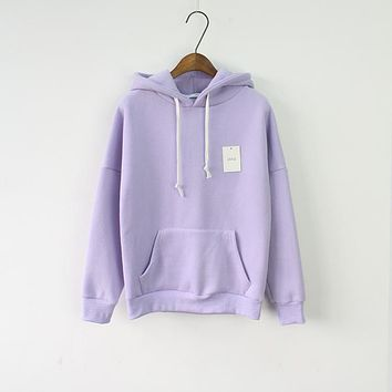 Solid Hooded Hoodies for Women  Korean Pocket Casual Fitness Pullovers Leisure Sweatshirts Drawstring 6 Candy Color