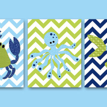 Bathroom Decor Sea Octopus Crab Nursery Fish Nursery Octopus Nursery Baby Nursery Decor Children Art Print Baby Nursery Print set of 3 /