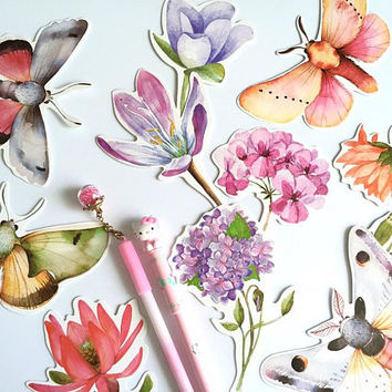 25 wild flower pretty insect paper card embellishment Botanical Art flower drawing Print paper card thank you card scrapbook Illustration