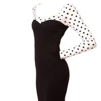 Long Sleeve Sweetheart Neckline Polka Dots Dress