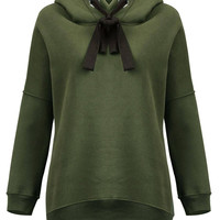 Army Green Hoodie with Zip Detail