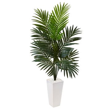 Artificial Tree -4.5 Foot Kentia Palm Tree In White Tower Planter