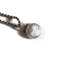 Floating Moon Coin Pearl Sterling Silver Bezel Set Pendant TAGT VALENTINE