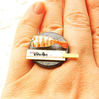 Sushi Ring Miniature  Food Jewelry Shrimp and Chopsticks