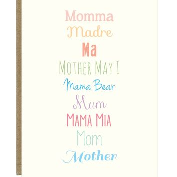 How to Say Mom in Every Way Mother's Day Greeting Card