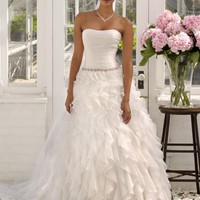 Strapless Organza Ball Gown with Ruffle Detail - David's Bridal- mobile
