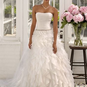 Strapless Organza Ball Gown with Ruffle Detail - David's Bridal - mobile
