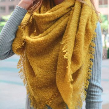 Oversized Open Knit Blanket Scarf - Mustard