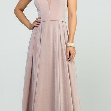Blush Long Prom Dress with Double Spaghetti Strap