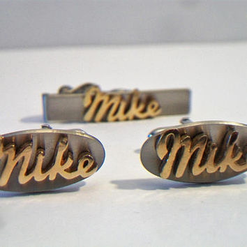 Vintage Cufflinks Tie Tack Set Mike Swank  Suit & Tie Accessories