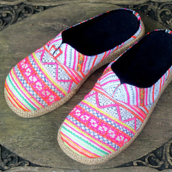 Womens Clogs Soft Rainbow Colored Ethnic Hmong Embroidered Vegan Shoes