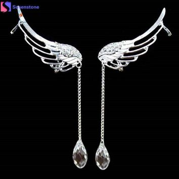 NOVO5 Elegant Angel Wing Crystal Earrings Drop Dangle Ear Stud Cuff Clip