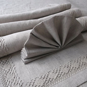 Matching set of linen table runner with flax lace and organic cloth napkins Grey Dining table decor