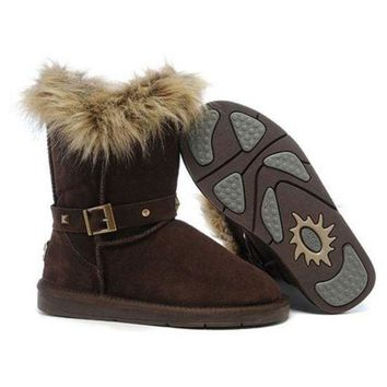 ICIKIN2 Ugg Boots Black Friday 2016 Fox Fur Buckled 5558 Chocolate For Women 94 09