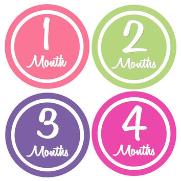 Monthly Onesuit Stickers Baby Month Stickers Baby Girl  Hot Pink Green Purple Monthly Onesuit Stickers Girl Baby Shower Gift Photo Prop Nya2
