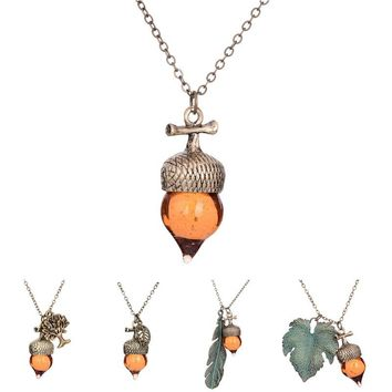 2016 Women Glaze Stone Necklace Orange Pine Cone Acorn Design Feather Leaf Life of Tree Pendant Necklace Long Chains Jewelry