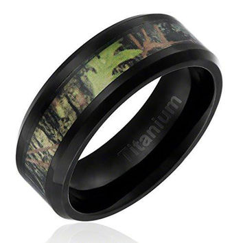 8MM Titanium Ring Wedding Band Black Plated with Camouflage Inlay Beveled Edges | FREE ENGRAVING