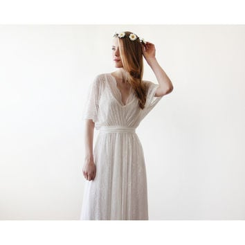 Floral lace ivory sheer maxi dress