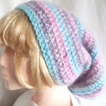 Extra long, Slouchy Beanie Hat for Men or Women, Hand Crocheted in Pink, Purple & Blue. Fashion Accessories. Winter Warmers