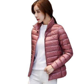 Plus Size 3XL 4XL 2017 Spring Jacket Women Short Thin Down Jackets Stand Collar Slim Korean White Duck Down Slim Coat YSB02