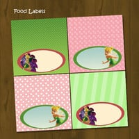 Tinkerbell Printable Food Labels - Tinkerbell Food Labels Pink and Green - INSTANT DOWNLOAD