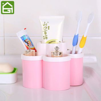 Double Layer Makeup Storage Box Home Office Desk Pen Holder Bathroom Cosmetic Toothpaste Toothbrush Organizer Case