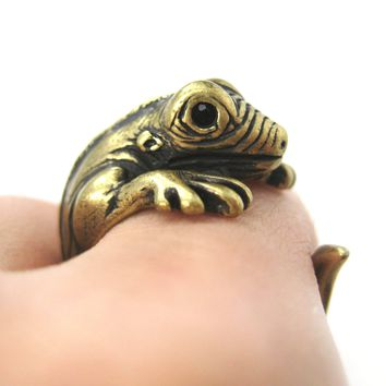 Iguana Chameleon Animal Wrap Around Hug Ring in Brass | US Sizes 4 to 9