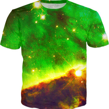 Hubble Green Clouds | Universe Galaxy Nebula Star Clothes | Rave & Festival Shirt