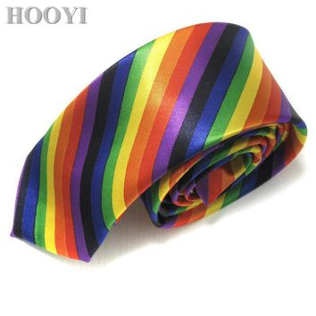 HOOYI Rainbow Print Neck Tie Fashion Polyester Stripe Slim Ties for Men Skinny Necktie Cravat Party Gift Ascot 5cm width