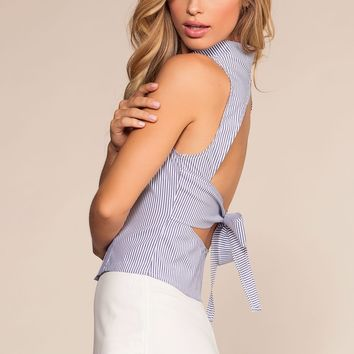Sand Dollar Stripe Button-Up Open Back Top