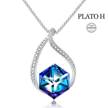 Change Color Necklace PLATO H Heart Of Ocean Blue Cubic Necklace With  Swarovski Crystals Birthstones, Christmas Gifts Necklace, Woman Jewelry Gift Necklace, Blue Crystal Necklace