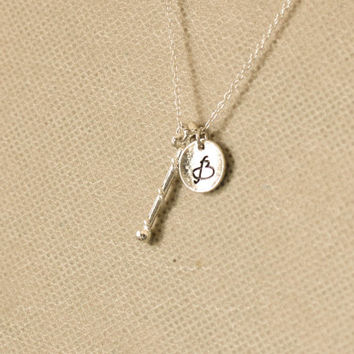 Baton necklace. cheerleader necklace, majorette baton charm, baton twirling, personalized initial necklace. sterling silvr necklace. No.124