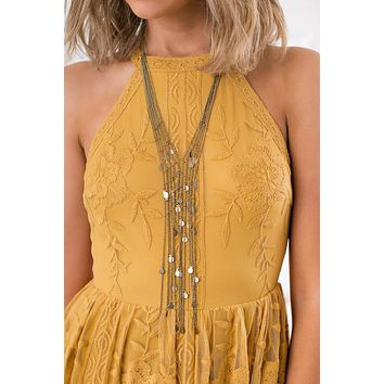 Lights On a Balcony Multi Strand Circle Charm Necklace (Gold)