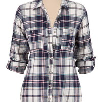 Plaid Button Down Shirt with lurex