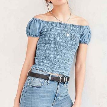 BDG Veronica Smocked Chambray Top