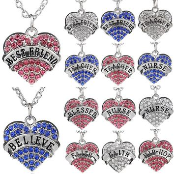 Bespmosp 35 Styles New Crystal Heart Nurse Teacher Believe Best Friend BFF Family Women Men Jewelry Pendant Necklace Gift Choker
